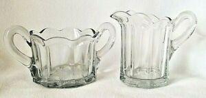 Vintage Clear Scallop Panel Glass Sugar & Creamer Set, MINT