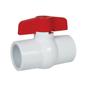 Pipe Connector for Swimming Pool Schedule 40 CMI Inc 2 Inch PVC Ball Valve Inline Threaded PVC Pipes and Fittings White Sewer Pipe 2 T-Handle Shut-Off Valve EPDM Seal