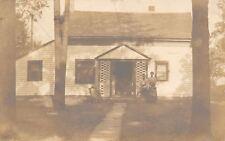 Canton Ohio~Bill & Iva & Their Brindel Bulldog~Lattice Sandwiches Door RPPC 1909