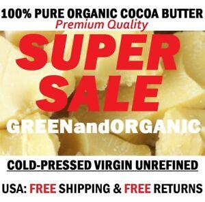 100% Raw Cocoa / Cacao Butter PURE FOOD GRADE - Unrefined Natural 1 lb / 16oz