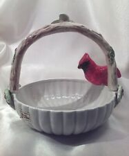 Fitz and Floyd Ceramic Christmas Basket w/Red Cardinal & Holly