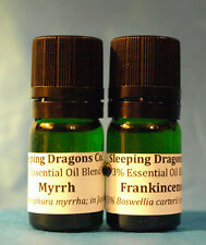 Frankincense & Myrrh 2 Essential Oils in jojoba 5mls Green Glass Eurodroppers