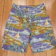 Polo by Ralph Lauren Men's 34 Hawaiian Beach Surf Scene Lace Up Board Shorts