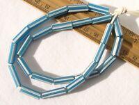 Antique Blue White Striped Drawn Glass Tube Beads African Trade Dutch Venetian
