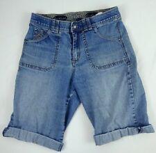 Gloria Vanderbilt Womans Distressed Blue Jean Shorts Size 6 Embellished
