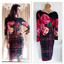 JOSEPH RIBKOFF Roses Print Jersey Dress Uk Size 18