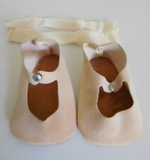 "Vintage 1950's Beige Faux Suede Baby Doll Shoes & Rayon Socks for 25"" Doll w/Box"