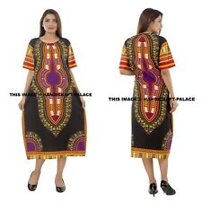 Dashiki African Poncho Tribal BOHO HIPPIE Kaftan Long Shirt Maxi Bright Colors