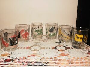 VINTAGE ITALIAN  COLLECTIBLE ADVERTISING WHISKY GLASSES - SET OF 6