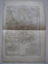 CARTE du BAS RHIN par BONNE carte ancienne 1788 mayence palatinat suabe erfurt44