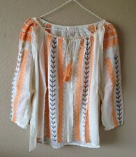 Sundance Catalog New $138 Sonnet Tunic Embroidered Cotton Gauze Cross Stitch M