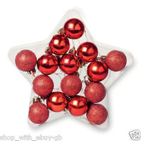 Set Of 15 Glitter And Matt Red Hanging Hanger Christmas Tree Baubles Decorations