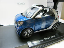 SMART FORTWO CABRIOLET 2015 SILVER/ BLUE METALLIC  NOREV 1/18