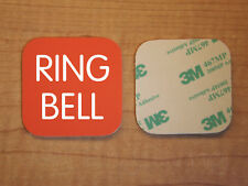 Engraved 3x3 RING BELL Plastic Tag Sign Plate   Orange Doorbell Plate Plaque