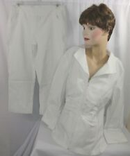 Womens TRIBAL 2 pc. Stretch White Jacket Size 14 and White Crop Pants Size 12