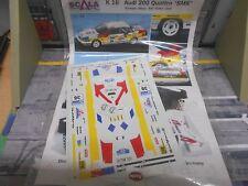 DECAL Decalsatz für Umbau Rallye AUDI 200 Quattro SMS Schwarz RAC 88 Scala 1:43