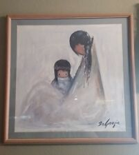 "Degrazia Navajo Mother Print, Framed and Matted 26-1/2"" x 26-1/2"""