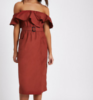 River Island Dark Red Belted Bardot Dress BNWT Size UK 18