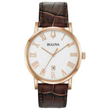 Bulova Men's Watch American Clipper Quartz Date White Dial Leather Strap 97B184