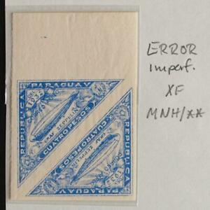 PARAGUAY 1932 ERROR Imperforated XF+ MNH/**/* ZEPPELIN Flight Airmail Block LOOK