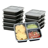 10 Pcs Meal Prep Containers 3 Compartment with Lids Food Storage Box Reusable