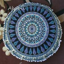 "28"" Deer Mandala Round Cover Meditation Floor Ottoman Pillow Cushion Cover Throw"