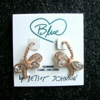 NWT Betsey Johnson BLUE BOWTIFUL BOW Rose Gold With CZ Fish Hook Earrings~Cute!