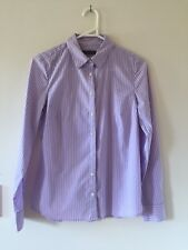 Womens Sportscraft fitted stretch Shirt Blouse Top Purple Cotton Blend Size 6