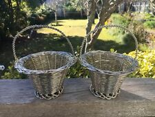 2 Silver Metal Weaved Wire Baskets Flowers Chocolates Lollies Ornamental