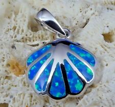 COOL!  HIGH POLISHED STERLING SILVER BLUE OPAL SCALLOP SHELL PENDANT