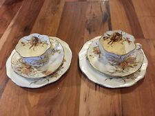 Stunning Antique Pair Of Victorian Fluted Bone China Trios - Very Pretty
