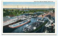 Sailing Ship Steamer Harbor Tampa Florida 1920c postcard