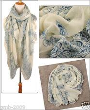 Fashion Women's Beige Long Voile Cotton Scarf Wrap Ladies Shawl Girls Scarves