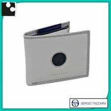 portafoglio da uomo slim in VERA PELLE grigio borsellino piccolo con portamonete