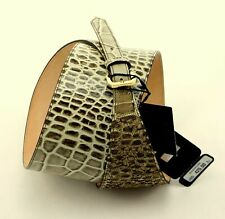 ESCADA Beige/Brown Wide Leather BELT w/GOLD Tone BUCKLE made in ITALY New $425