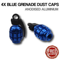 4x Blue Grenade Car Bike Motorcycle BMX Wheel Tyre Valve Metal Dust Caps Dusties