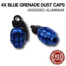 4x Bleu Grenade Voiture Vélo Moto BMX Roue pneu Valve Métal Capuchons Anti-poussière dusties