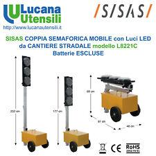 SISAS COPPIA SEMAFORI L8221C MOBILE LED CANTIERE STRADALE CENTRALINE NoBatterie