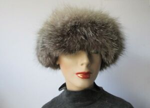 "Women's Sz 22"" Black / Silver Suede Hat with Indigo Fox Fur Trim  MINT++"