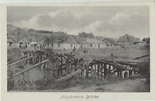 WWII DESTROYED WOODEN BRIDGE in East - Poland? Town Houses Vintage PC 1940