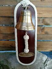 Cadre bois avec cloche laiton et plaque welcome a board neuf 17x50x16cm