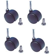 More details for black castor wheel twin 40mm nylon swivel 360 push fix fitting socket pack of 4
