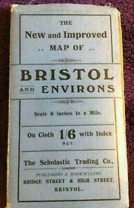 Vintage New and Improved  Map of BRISTOL and ENVIRONS, 6 ins to 1 mile,on cloth
