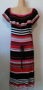 JACQUI E Red/pink/black striped frilled neck off-shoulder dress. Size L (14)