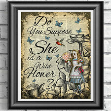 ART Print DICTIONARY ANTIQUE BOOK PAGE Alice in Wonderland Wild Flower