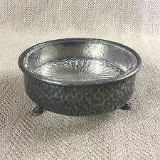Vintage Butter Dish Jam Preserve Pot Art Deco Hammered Pewter Glass Liner Bowl
