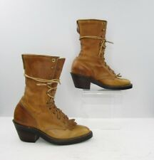 Ladies Justin Brown Leather Granny Lace Up Roper Western Boots Size: 5.5 B