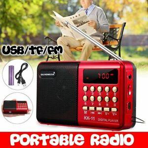Portable Mini Digital FM AM Radio Stereo Speaker Rechargeable MP3 Player USB TF