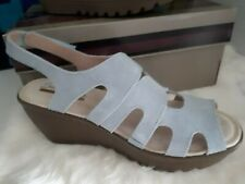 Skechers Wedge Sandals Light Blue Suede Size 7W New