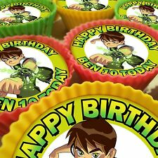 BEN 10 PERSONALISED CUPCAKE TOPPERS 12 PRE-CUT EDIBLE IMAGES